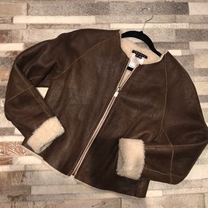 Theory shearling leather jacket Sz M in brown
